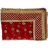 Red Large Decorative Cloth Chunari (Size :- 38 Inches x 20 Inches) Chunni Puja Festival Decoration Chunr MATA Ki Chunri for S
