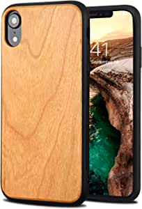iPhone XR ケース 6.1インチ 対応 桜木製 TPU 天然木 YFWOOD ワイヤレス充電可能 和風 木目 ハードスマホ ウッドケース ストラップホール付き 衝撃吸収 全面保護 黄変防止 軽量 イェロー