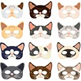 CC HOME Kitty Cat Masks, Cat Party Decorations,Kitten Mask for Kids Cat Theme Birthday Party,Baby Shower Decorations Favor 12