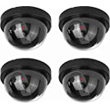NONMON Fake Dummy Dome Camera Homes & Business Security CCTV Cameras with Flashing Red LED Light for Indoor and Outdoor-4 Pac