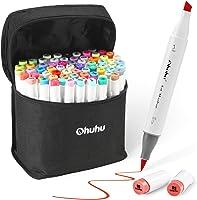 Art Markers Set, Ohuhu Dual Tip, Brush & Chisel, Sketch Marker for Kids, Artist, Students, Alcohol Brush Markers for...