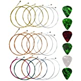 Yookat Acoustic Guitar Strings with 6 Picks, 3 Sets of 6 Acoustic Guitar Kit Guitar Strings Steel String For Beginners Perfor