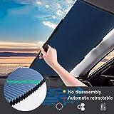 Retractable Windshield Sun Shade for Car, Cordless Cellular Sun Visor Protector Blocks 99% UV Rays to Keep The Vehicle Cool,