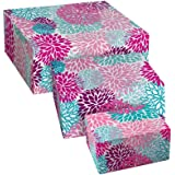 Snap-N-Store Magnetic Storage Box 3-Piece Set, Small/Medium/Large, Stripes & Pink Dots (SNS03324) Colorful Mums