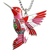 Luckeyui Womens Hummingbird Necklaces & Pendants Unique Colorful Bird Charm Jewelry Gifts