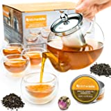 Tea Kettle Infuser Stovetop Gift Set - Glass Teapot with Removable Stainless Steel Strainer, Microwave & Dishwasher Safe, Tea