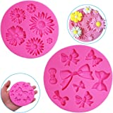 2 Pieces Decorative Silicone Molds, Chrysanthemum Flower and Bow Tie Shaped, FineGood Chocolate Fondant Clay Sugar Craft Soap