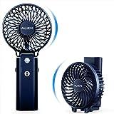 Aujen 携帯扇風機 充電式 最大作動時間35h 【2020年最新】手持ち扇風機 ハンディファン 小型 卓上扇風機 5200mAh モバイルバッテリーあり 首かけ 小型 スタンド機能 折り畳み式 超静音 ブルー
