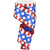 """Polka Dots with Stripes Wired Edge Ribbon - 10 Yards, 100% Polyester, Red, White, Blue, 2.5"""""""