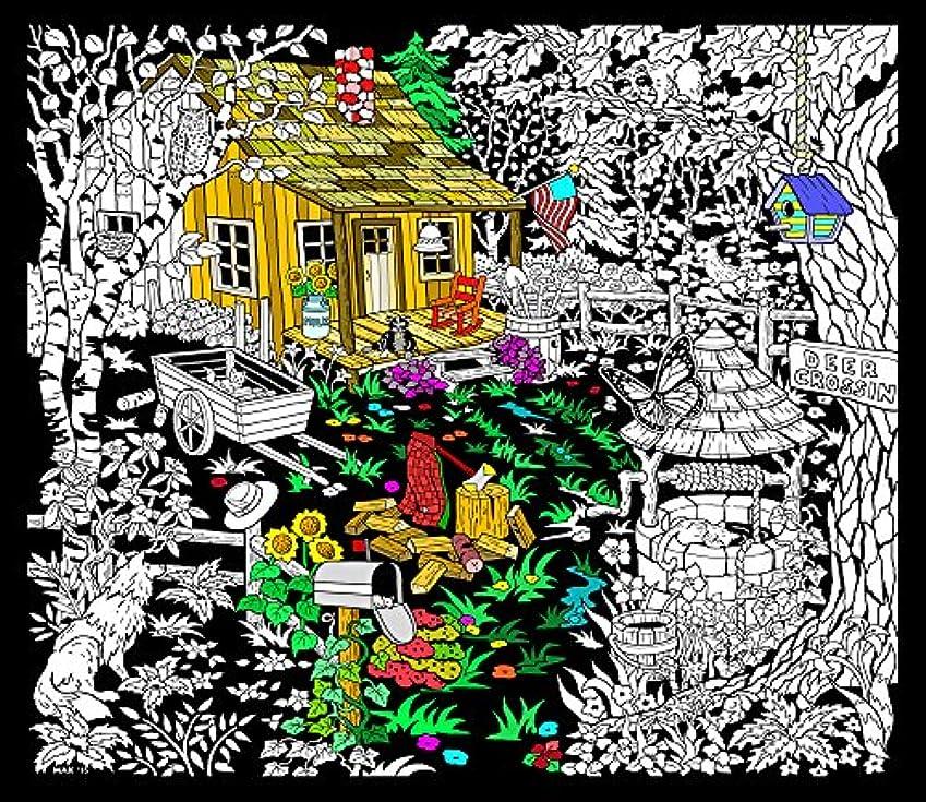 きしむ考古学的な少数Cabin Well - 23x20 Fuzzy Velvet Detailed Colouring Poster by Stuff2Color