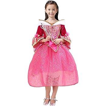 61ef4801012b3 眠れる森の美女 プリンセス キッズ コスチューム ワンピース ドレス お姫様 衣装 セット(ドレス ティアラ スティック) ガールズ (130cm)