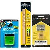BUNDLE Prismacolor Blender Pencil Colorless, 2-pack + Prismacolor 3 Eraser Set + Prismacolor Scholar Colored Pencil Sharpener