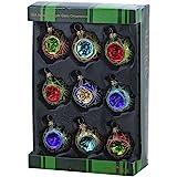 Kurt Adler 45mm Glass Multicolored Reflector Ornament Set of 9, 9 Piece