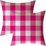AHAHM Pink and White Buffalo Check Plaid Throw Pillows Farmhouse Decorative Throw Pillow Case Indoor Outdoor Cushion Cover Pi