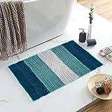 Lewondr Stripe Door Mat, Soft Superfine Fiber Entry Way Welcome Doormat, Heavy Duty, Non Slip, Easy to Clean Floor Mat for In