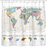 New! Map of The World Shower Curtain with Detailed Major Cities. PVC Free, Non-Toxic and Odorless Water Repellent Fabric. Lar
