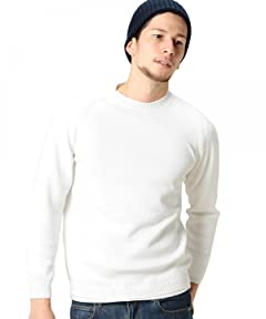 Middle Gauge Cotton Crewneck Sweater 1213-105-3073: White