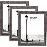Metrekey Picture Frame (3 Pack, Oak Wood Finish), Photo Frame,for Table Top Display and Wall mounting Photo Frame, Wood, Gray