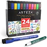 Arteza Magnetic Dry Erase Markers with Eraser, Pack of 24 (with Fine Tip), 12 Assorted Colors with Low-Odor Ink, Whiteboard P