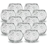 """Just Artifacts Round Mercury Glass Votive Candle Holders 2"""" H Speckled Silver (Set of 12) - Mercury Glass Votive Candle Holde"""