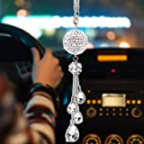 ToBeQueen Car Bling Rearview Mirror Accessories for Women,Car Rearview Mirror Crystal Pendant,Crystal Ball Charm Decor Bling