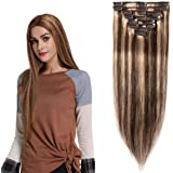 Hairro Clip in Human Hair Extensions Weft (#4P27 Medium Brown & Dark Blonde) 100% Remy Human Hair Invisible Light Thin Long S