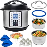 9-in-1 Instant Programmable Pressure Cooker 6 Quarts with Stainless Steel Pot, Steamer Basket, Glass Lid, Recipe Book. Pressu