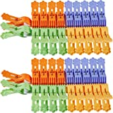 Foshine ClothesPins 40 Pack Clothes Clips for Drying Clothing Clips Blue Yellow Green Orange Colored Laundry Clips Clothespin