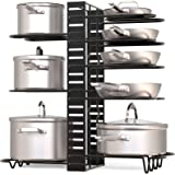 GeekDigg Pot Rack Organizer under Cabinet, 3 DIY Methods, Height and Position are Adjustable 8+ Pots Holder, Black Metal Kitc