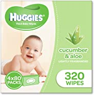 Huggies Aloe & Cucumber Baby Wipes, 320 Wipes (4 x 80 Pack)