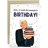 Sleazy Greetings Funny Joe Biden Sniffing Smelling Happy Birthday Greeting Card | Political Bday Congratulations Joe Biden Ca