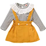 YOUNGER STAR Toddler Girls Outfits 3pcs Baby T-Shirt Clothes Set Girl Floral Jumpsuit+Strap Skirt Outfits