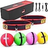 YMX ボクシング リフレックスボールセット - 4つのリアクトリフレックスボールと2つの調節可能なヘッドバンド、反射、タイミング、正確、フォーカスと手の目のコーディネーショントレーニングに最適