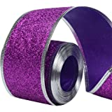 Gardeningwill 33Ft/10Meters Glitter Christmas Ribbon Wreath Present Wedding Arts Crafts Gift Wrapping Purple