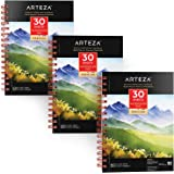 """(5.5""""X8.5"""" - 3 pack) - Arteza Watercolour Pad, 3 Pack, 14cm x 22cm Painting & Drawing Paper Sketchbooks, 90 Sheets Total, 60k"""