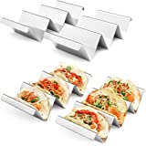 Taco Holders 4 Packs - Stainless Steel Taco Stand Rack Tray Style by Artthome, Oven Safe for Baking, Dishwasher and Grill Saf