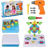 Creative Drilling Toy with Screwdriver Tool Playset STEM Toys, Electric Drill Puzzle for Kids, Mosaic Design Building Puzzles
