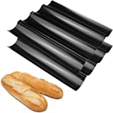 Fasmov Set of 2 French Bread Baking Pan Nonstick Perforated Baguette Pan 4 Wave Loaves Loaf Bake Mold Toast Cooking Bakers Mo