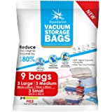 Spedalon Vacuum Storage Bags - Pack of 9 (3 Large + 3 Medium + 3 Small) Reusable with Free Hand Pump for Travel Packing. Best