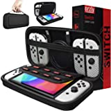 Orzly Carry Case Compatible with Nintendo Switch and New Switch OLED Console - Black Protective Hard Portable Travel Carry Ca