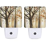 2 PCS Night Light Vintage Floral Night Light Lamp Plug-in LED Nightlights Flower Auto Dusk-to-Dawn Sensor Lamp for Bedroom Ba