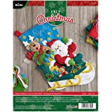BUCILLA 86706 Felt Applique Stocking Kit Santa's Helper, Size 18-Inch
