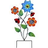Juegoal 28 Inch Flowers Garden Stake Decor, Metal Art Colorful Look & Personalities Sunflowers and Ladybugs Decoration, Yard