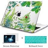 TwoL MacBook Air 11 インチ ケース かわいい緑の葉 ハードケース シェルカバー マックブック キーボード 保護フィルム付き ラップトップ 排気口カバー (型番:A1465/A1370)