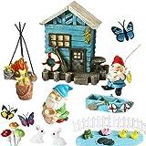 BangBangDa Miniature Fairy Garden Gnomes - Small Gnome Figurines & Accessories - Gnome House for Outdoor or Indoor Garden Dec