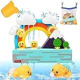 【Amazon限定ブランド】ADULi 雨上がりの虹と富士山 お風呂おもちゃ 水遊び玩具 シャワーおもちゃ 収納バッグ付き 強力な吸盤付き 噴水おもちゃ シャワーカップ かわいい形 安全素材 男の子 女の子 おふろおもちゃ 子供 赤ちゃんおもちゃ 水