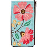 Alice Peterson Pink Flowers Stitch & Zip Eyeglass Case Needlepoint Kit