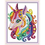 Full Range of Embroidery Starter Kits Stamped Cross Stitch Kits Beginners for DIY Embroidery kit 11CT 11×15(inch) - Unicorn