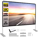 Projector Screen with Stand 100 inch Portable Projection Screen 16:9 4K HD Rear Front Projections Movies Screen for Indoor Ou