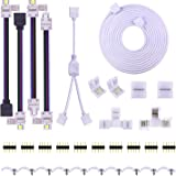 5PIN LED Strip Connector Kit - 10mm 5050 RGBW LED Connector Kit Include 9.8FT Extension Cable, Strip to Strip Jumper, Strip t